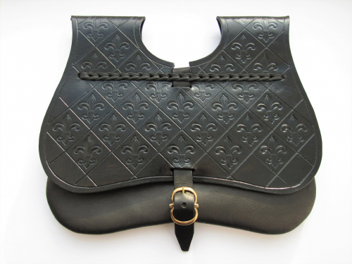 Medieval leather pouch with stamping