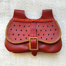 Medieval leather pouch with perforations and stamping LL23