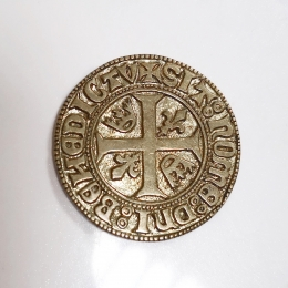 Silvered medieval coin,  Blanc of Charles VI