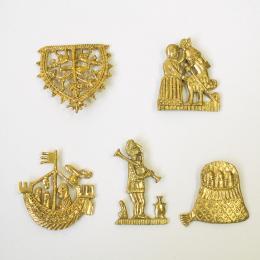 Set of 5 carnival medieval badges 2