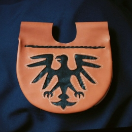 LL12  Medieval Leather Pouch with Eagle
