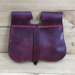 Medieval leather belt pouch with stamping LL22